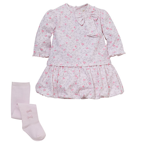 Buy Emile et Rose Baby Dacia Floral Print Dress Set & Plush Toy, Pink Online at johnlewis.com