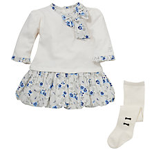 Buy Emile et Rose Baby Dacia Bubble Dress & Tights Set, Ivory/Blue Online at johnlewis.com