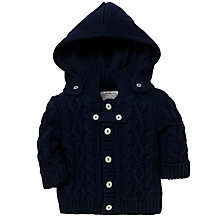 Buy Emile et Rose Baby Dalton Cable Knit Cardigan & Plush Toy, Navy Online at johnlewis.com