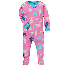 Buy Hatley Baby Bear Print Sleepsuit, Pink Online at johnlewis.com