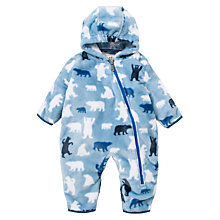 Buy Hatley Baby Bear Print Fleece Snugglesuit, Blue Online at johnlewis.com