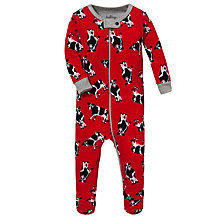 Buy Hatley Baby Cow Print Sleepsuit, Red Online at johnlewis.com