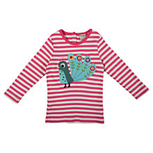Buy Frugi Girls' Stripe Peacock Appliqué Top, Multi Online at johnlewis.com