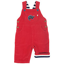 Buy Frugi Dylan Dinosaur Corduroy Dungarees, Red Online at johnlewis.com