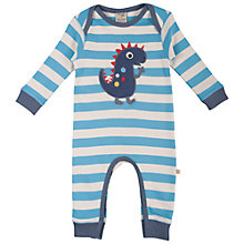 Buy Frugi Baby's Charlie Dino Rompersuit, Blue/White Online at johnlewis.com