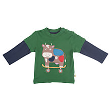 Buy Frugi Baby Patch Cow Top, Green/Blue Online at johnlewis.com