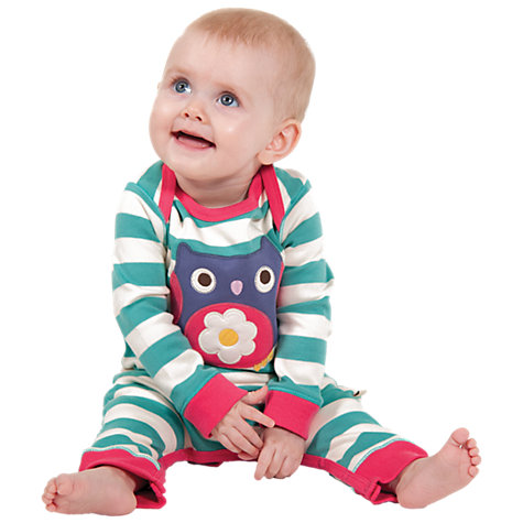 Buy Frugi Baby Owl Applique Stripe Romper, Green Online at johnlewis.com