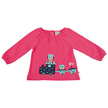 Buy Frugi Animal Train Motif Ella Top, Pink Online at johnlewis.com