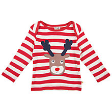 Buy Frugi Baby Rudolph Bobby Top, Red/White Online at johnlewis.com