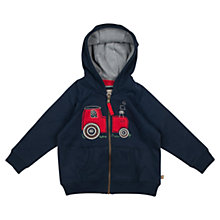 Buy Frugi Baby Bertie Tractor Hoody, Navy Online at johnlewis.com