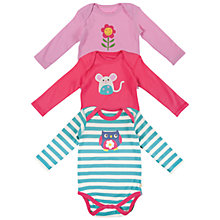 Buy Frugi Baby Long Sleeve Bodysuits, Pack of 3, Multi Online at johnlewis.com
