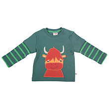 Buy Frugi Layered Sleeve Highland Cow Top, Green Online at johnlewis.com