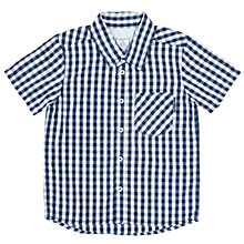 Buy Polarn O. Pyret Baby Check Short Sleeve Shirt, Navy/White Online at johnlewis.com