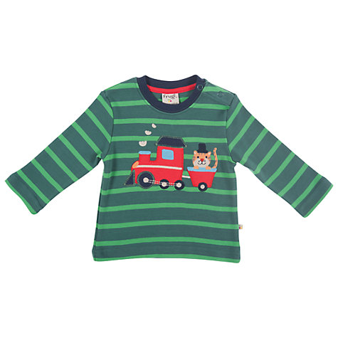 Buy Frugi Stripe Discovery Train T-Shirt, Green Online at johnlewis.com