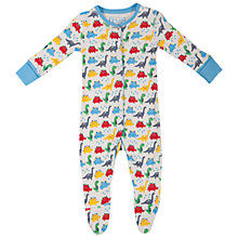 Buy Frugi Baby's Dino Sleepsuit, White/Multi Online at johnlewis.com