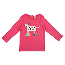 Buy Frugi Girls' Lottie Dog Appliqué Top, Pink Online at johnlewis.com