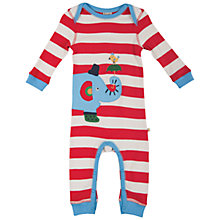 Buy Frugi Baby Stripe Charlie Elephant Romper, Red Online at johnlewis.com