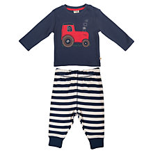 Buy Frugi Baby Archie Tractor Top and Trousers, Blue/Multi Online at johnlewis.com