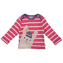 Buy Frugi Stripe Bobby Bunny T-Shirt, Pink Online at johnlewis.com