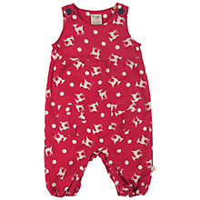 Buy Frugi Baby Reindeer Dungarees, Red/White Online at johnlewis.com