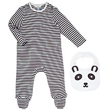 Buy John Lewis Baby Panda Sleepsuit and Bib Set, Black/White Online at johnlewis.com