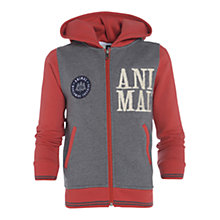 Buy Animal Boys' Contrast Zip-Through Hoodie, Grey/Red Online at johnlewis.com