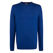 Buy Fred Perry Classic Tip Crew Neck Jumper, Persian Blue Online at johnlewis.com