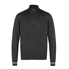 Buy Fred Perry Bomber Half Zip Merino Wool Shirt, Charcoal Marl Online at johnlewis.com