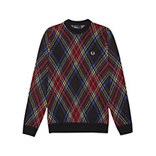 Buy Fred Perry Tartan Crew Neck Jumper, Black Online at johnlewis.com