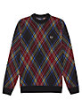 Fred Perry Tartan Crew Neck Jumper, Black