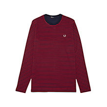 Buy Fred Perry Sharp Long Sleeved Striped T-Shirt, Blood Red Online at johnlewis.com