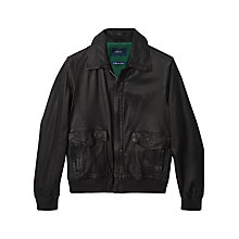 Buy Gant Hurricane Leather Bomber Jacket, Barque Brown Online at johnlewis.com