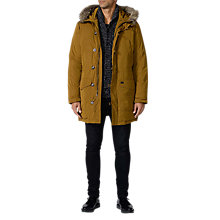 Buy Diesel Aqual Faux Fur Trim Parka Coat, Dark Mustard Online at johnlewis.com