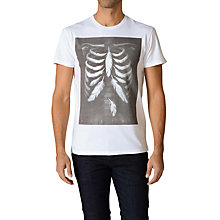 Buy Diesel Maglietta Rib Cage & Feather Print Cotton T-Shirt, Black / White Online at johnlewis.com