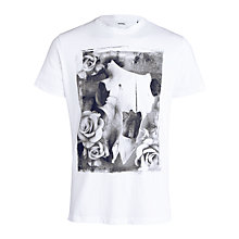Buy Diesel Giso Skull and Roses Print Cotton T-Shirt, White Online at johnlewis.com