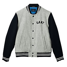 Buy Gant Varsity Bomber Jacket, Grey Online at johnlewis.com