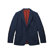 Buy Gant Pinpoint Wool Elbow Patch Blazer, Dark Blue Online at johnlewis.com
