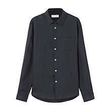 Buy Jigsaw Spot Print Linen Shirt, Navy Online at johnlewis.com