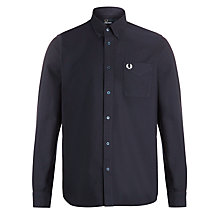 Buy Fred Perry Oxford Long Sleeve Shirt, Navy Online at johnlewis.com
