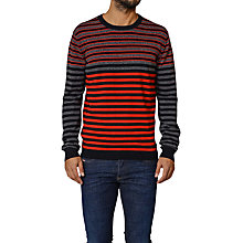 Buy Diesel Cauve Contrast Stripe Jumper, Red / Black Online at johnlewis.com
