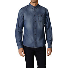 Buy Diesel Camicia Cotton Denim Shirt, Mid Dark Blue Online at johnlewis.com