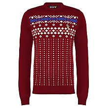 Buy Lyle & Scott Fair Isle Crew Neck Jumper, Bright Claret Online at johnlewis.com