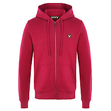Buy Lyle & Scott Full Zip Slim Fit Hoodie, Bright Claret Online at johnlewis.com