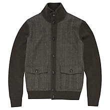 Buy Hackett London Tweed Trim Cardigan, Olive Online at johnlewis.com