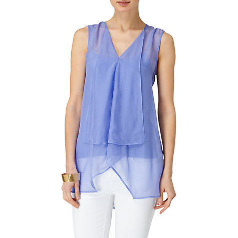 Buy Phase Eight Corinne Waterfall Blouse, Blue Online at johnlewis.com