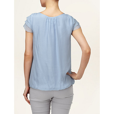 Buy Phase Eight Gia Pleated Blouse, Pale Blue Online at johnlewis.com