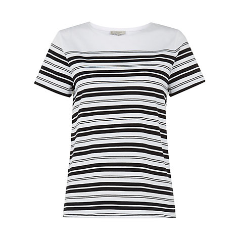 Buy Hobbs Reah T-Shirt, Black/White Online at johnlewis.com
