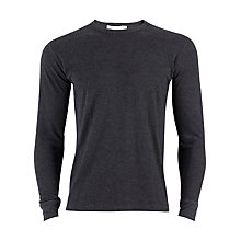 Buy Sunspel Thermal Long Sleeve Crew Neck T-Shirt, Charcoal Online at johnlewis.com