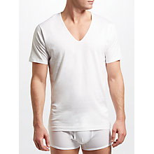 Buy Sunspel Superfine Low V-Neck T-Shirt, White Online at johnlewis.com
