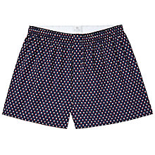 Buy Sunspel Tudor Woven Boxers, Navy Online at johnlewis.com